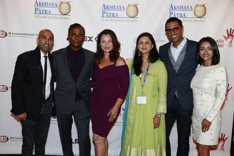 "Seen at Akshaya Patra USA's ""Comedy and Bollywood Dance Fest"" are (l-r): Rajiv Satyal, Dr. Shiva Ayyadurai, Fran Drescher, Vandana Tilak, Neel Grover and his wife."